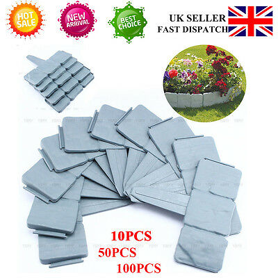 Sale 100 Cobbled Stone Effect Plastic Garden Lawn Edging Plant Border Uk Deliver