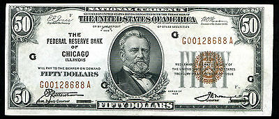 Fr. 1880-G 1929 $50 Frbn Federal Reserve Bank Note Chicago, Il About Unc
