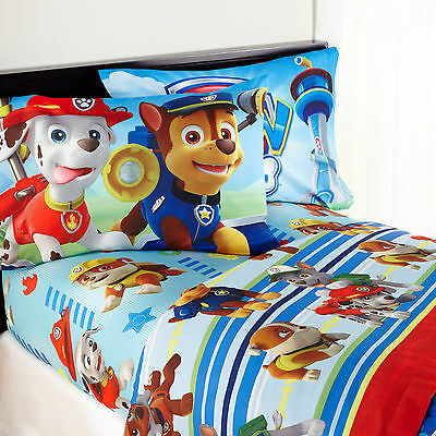 Paw Patrol Bed Sheet Kids Nickelodeon Twin Fitted Machine Washable Polyester Boy