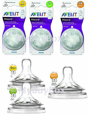 2 x Philips Avent Natural Teats For Baby Milk Bottle Teat Slow NewBorn Fast Flow