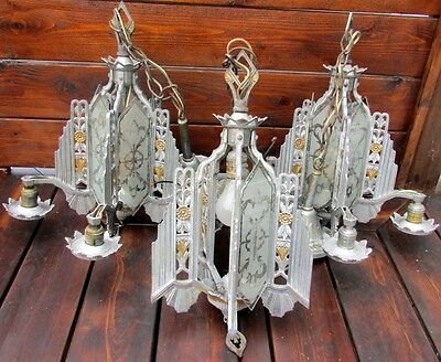 Vintage set of 3 Art Deco Lincoln Ceiling Light Fixture 1930's Antique Original