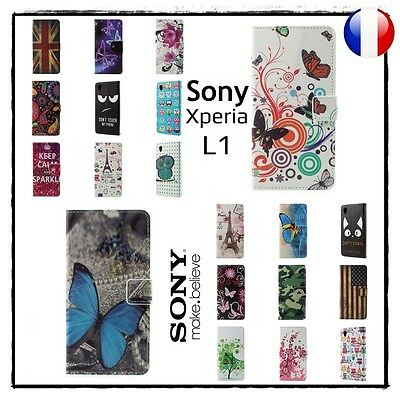 Etui Housse Coque porte-cartes Cuir PU Leather Wallet Case Sony Xperia L1