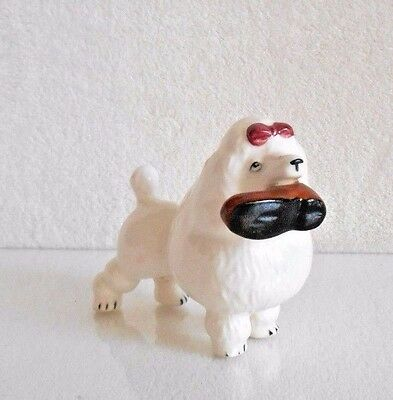 Vintage 1950s White Porcelain Ceramic FRENCH POODLE with SLIPPER Dog Figurine