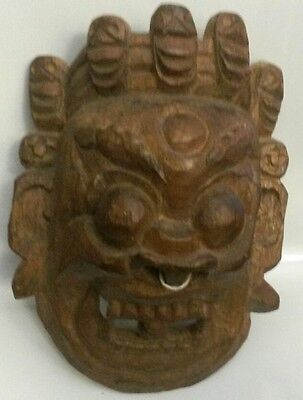"Vintage Primitive Hand Carved Wood Tribal Mask 12"" x 10"" nepelese tibetan bhutan"