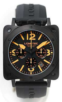 Lum-Tec Watch Bull42 A20 Mens Orange Dial Black Stainless Steel Limited Edition