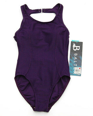 Vintage 1990s Purple Waffle Texture One Piece Swimsuit Baltex Malliot Size 8 NWT