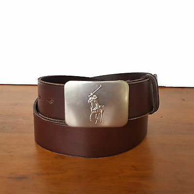 Polo Ralph Lauren Belt Brown Leather Big Pony Plaque Silver Buckle Mens 34