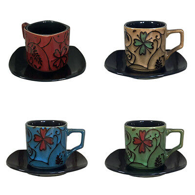 6 Small Square Embossed Cups and Saucers Ceramic Kitchen Tableware Mugs Teacups