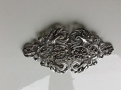 Solid Silver Hallmarked Nurses Buckle Four leaf Clover design