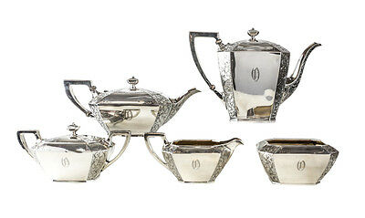 Durgin Sterling Silver Coffe & Tea Service Set, circa 1890. Hand Chased