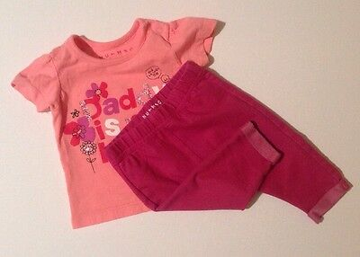 Nutmeg Baby Girls Pink Short Sleeve T-shirt & Dark Pink Leggings Set 0-3 Months
