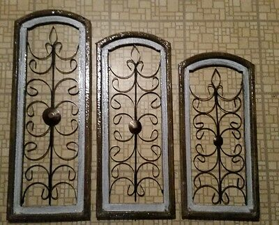 Beautiful 3Pc 100% Mexican Wrought Iron Wood Windows Hand Made In Mexico! White