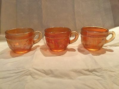 Three Carnival Glass Dugan Stork And Rushes Marigold Punch Cups