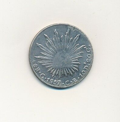 1857 Mexico Silver 8 Reales-Cullacan-Beautiful Mexican Silver Coin-Ships Free!
