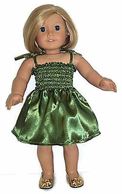 18 Inch Doll Clothes GREEN SATIN SUN DRESS made for American Girl Doll