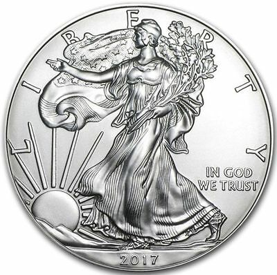 2017 $1 American Silver Eagle 1 oz Gem BU.  ITEM #58