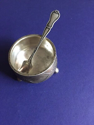 Antique Russian Silver 84 Salt Cellar With Spoon