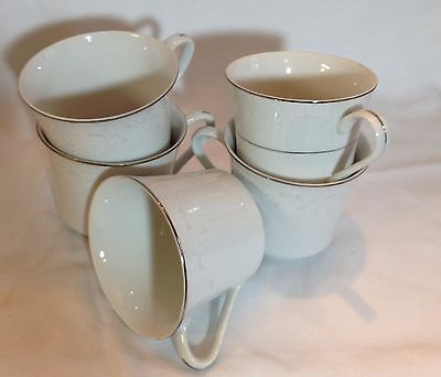 5 White Vintage Teacups by Chadds Ford Bone China Teacups Made in Japan
