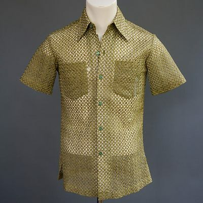 VTG 70s Mens See Thru Heavily Embroidered Dress Shirt Made in Philippines XXS XS