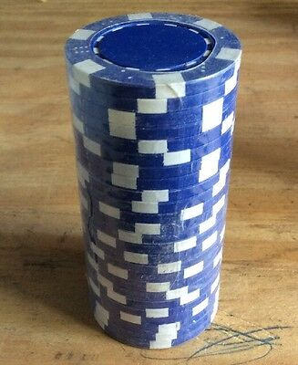 25 Blue Striped Dice 11.5g Clay Casino Poker Chips New