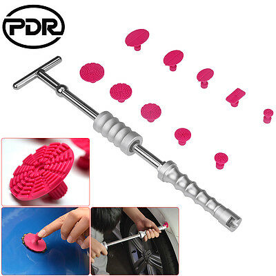 11pc PDR Tools Silver T bar Paintless Dent Hail Repair Slide Hammer Puller Tabs