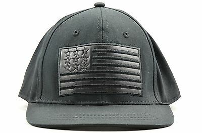 337c5d117f5 Beautiful Giant Mens Black USA Flag Snapback Hat NEW with Tags One Size  Fits All