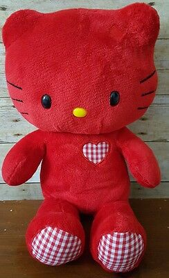 "Build A Bear 18"" Red And Gingham Hello Kitty Limited Edition Valentine's Plush"