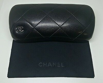 Chanel Logo Black Quilted Padded Hard Clam Shell Sunglasses Glasses Case w/Cloth