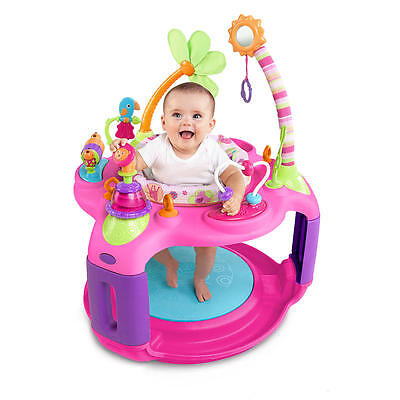 Bright Starts Sweet Safari Bounce-A-Round Baby Little Girl Pink Activity Center