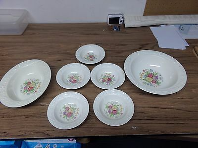Homer Laughlin Eggshell Theme Oval Serving Bowl/5 Berry Bowls/Serving Bowl/GC