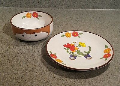 Interpur vintage child's bowl and plate set - partial set. made in Korea