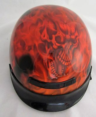 Used GLX DOT Motorcycle Half Helmet Flames / Skulls, Size X LARGE  cycle scooter