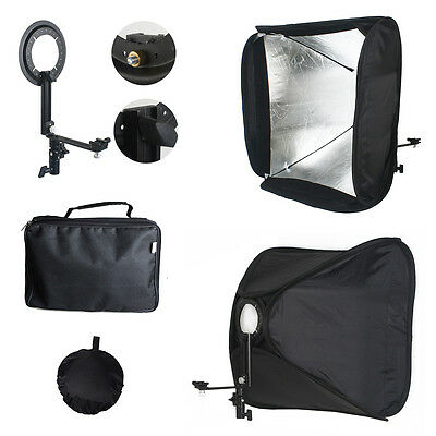 60x60cm Studio Flash Speedlite Softbox Portable Diffuser Bracket For Speedlight