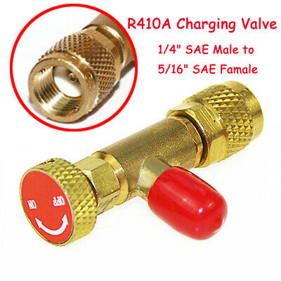 """R410A Refrigeration Charging Valve Adapter 1/4"""" SAE Male to 5/16"""" SAE Famale Red"""