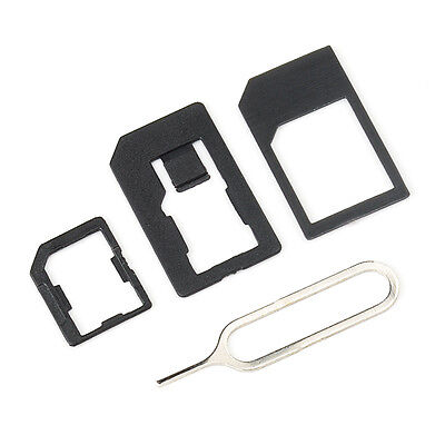 MINI 4 IN 1 Pack Nano To Micro & Standard Sim Card Adapter For Mobile Phones