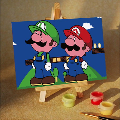 Fun and Educational Kids Painting by Numbers Kit - 10x15cm - Mario and Luigi