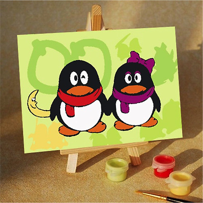 Fun and Educational Kids Painting by Numbers Kit - 10x15cm - Penguin Couple