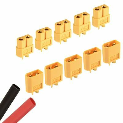 5 x PAIRS RC XT60 Male & Female PAIR Battery Connector + Heat Shrink