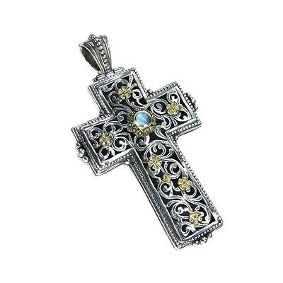 Gerochristo Handmade Eastern Byzantine Large Cross Silver and 18k Solid Gold