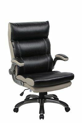 Bonded Leather Thick Padded High Back Managerial Office Chair with Flip-Up Arms