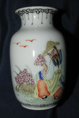 Antique H/ Painted Chinese Asian VASE POT Bearded Man w/ Flowers Signed 8.5CmT
