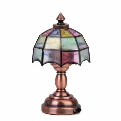 Bronze Metal 1:12 Dollhouse Miniature LED Desk Lamp Model with Multicolor U O1T1