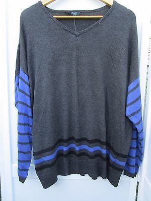 Ladies Patch Maternity V-neck stripe jersey jumper Size XS and Medium  8% angora