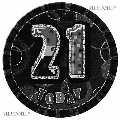 21th Birthday Badge Glitz Black Birthday Party Decorations Unisex Party Supply