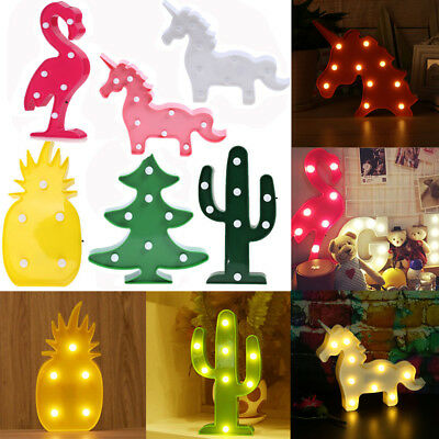 Animal Pineapple Cactus LED Table Night Lamp Light Child Room Xmas Gift Decor