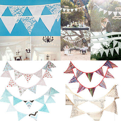Flags Cotton Lace Banner Bunting Garland Pennant Wedding Birthday Party Decor