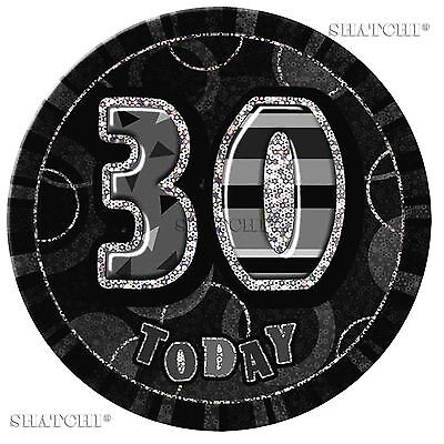 30th Birthday Badge Glitz Black Birthday Party Decorations Unisex Party Supply