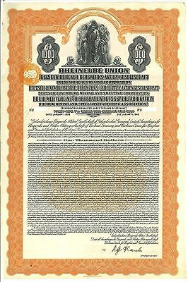 Rheinelbe Union $1000 Gold Bond 1926