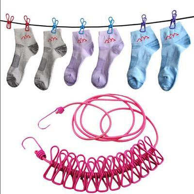 1.7M Elastic Laundry Washing Clothes Line Camping Travel With 12 Clips Pegs New