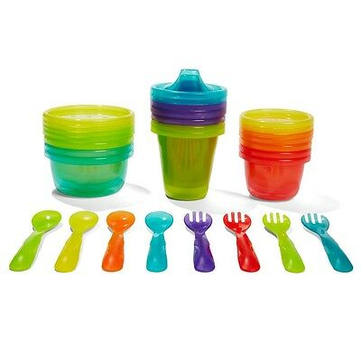 Kids Baby 20 Piece Disposable Feeding Set Cups Spoons Forks Bowls Cutlery Set